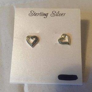 Jewelry - Sterling silver heart earrings NWT.